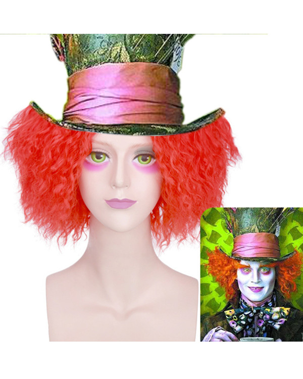 FESHFEN Red Short Wavy Hatter Cosplay Wig Alice's Adventures in Wonderland Costume Wig For Party