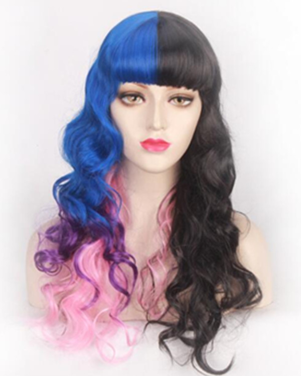 FESHFEN Fashionable two tones Black Blue Purple Pink Rainbow Long Wavy Cosplay Wig Mermaid Colorful Costume Wig For Women