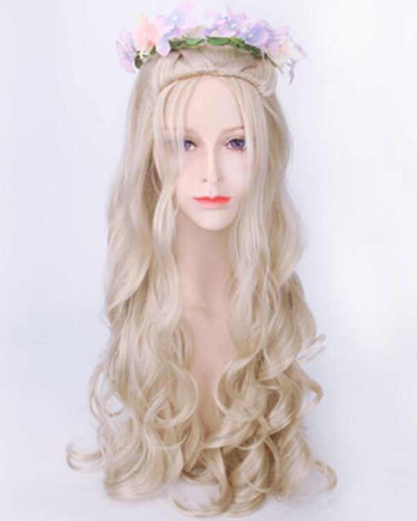 2017 Best Seller Bleach Blonde Long Wavy Game of Thrones Daenerys Targaryen Cosplay Wig Elegant Long Wavy Wig For Halloween