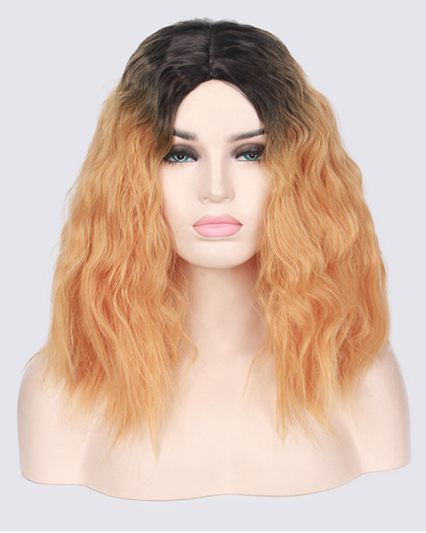 2017 New Peach Ombre Medium Long Wavy Cosplay Wig Orange Curly Costume Wig For Women