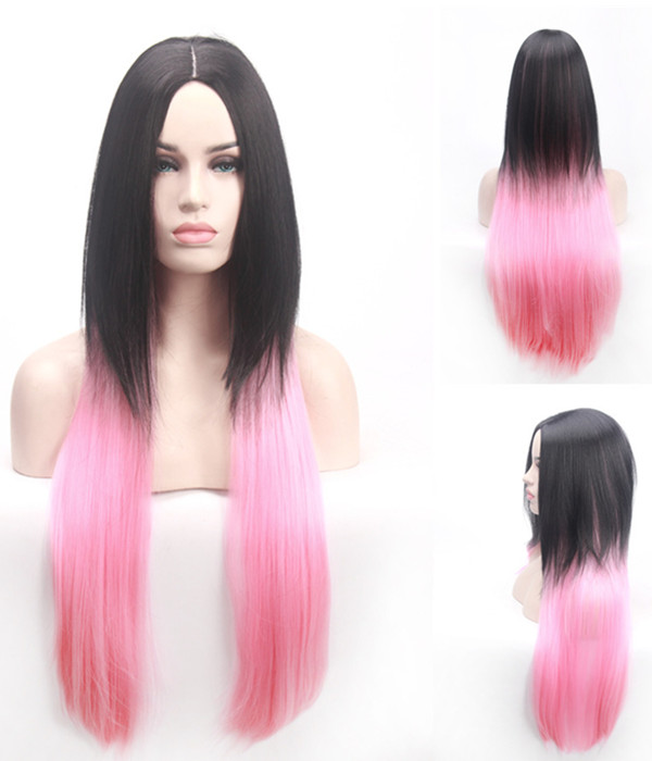 Elegant Black Pink Ombre Long Straight Costume Wig #1B/Pink Ombre Cosplay Wig For Women