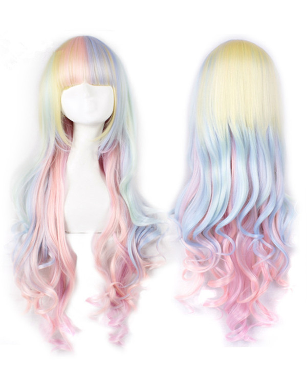 Lolita Rainbow Color Long Wavy Cosplay Wigs Colorful Costumes Wigs For Girls With Bangs Party Wig