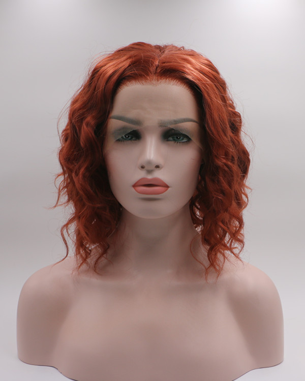 2018 New Arrival Copper Red Short Wavy Synthetic Lace Front Wig Free Part Red Lace Wig