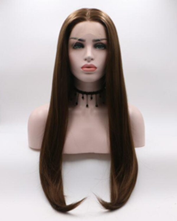 2018 New Brown Long Straight Synthetic Lace Front Wig Long Straight Hair Wig Lace WIg