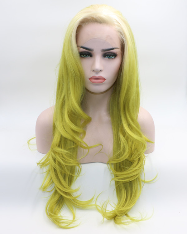 2018 New Arrival Olive Green Long Wavy Synthetic Lace Front Wig Trendy Light Green Synthetic Hair Lace Wig