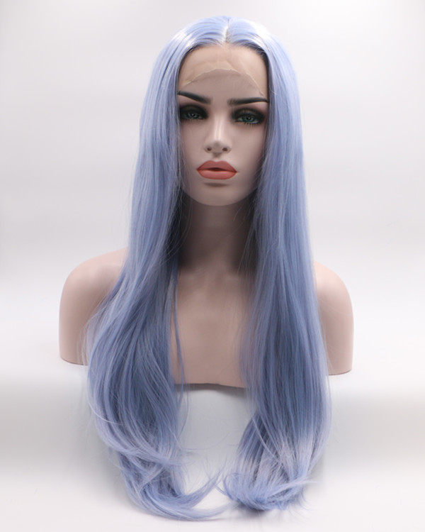 2018 New Arrival Pastel Blue Long Straight Synthetic Lace Front Wig 180% Density Elegant Blue Lace Wig