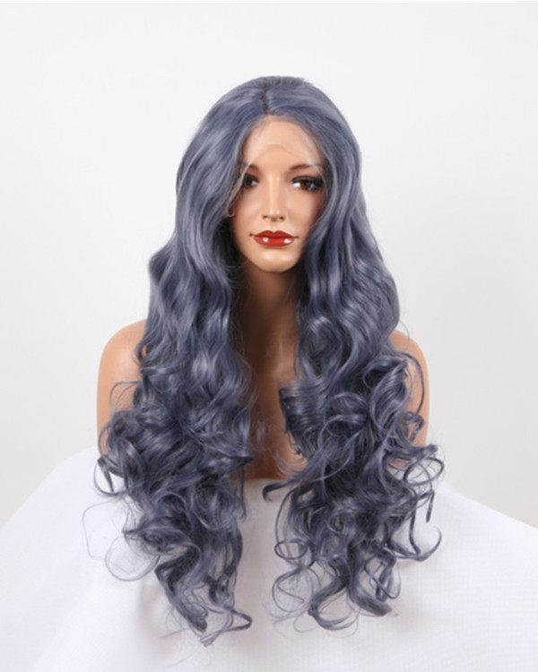2018 New Arrival Metallic Blue Long Wavy Blue Synthetic Lace Front Wig Long Wavy Lace Wig