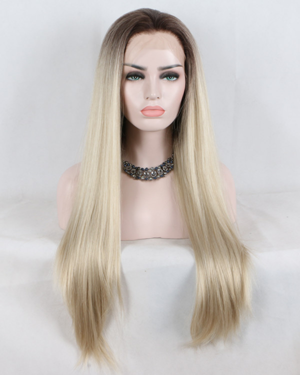 2018 New Arrival Mixed Blonde Omrbe Long Straight Synthetic Lace Front Wig Trendy Light Blonde Synthetic Hair Lace Wig