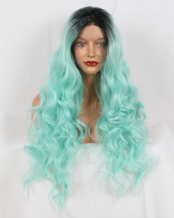 2018 New Arrival Mint Green Ombre Long Wavy Synthetic Lace Front Wig 180% Density Long Wavy Lace Wig