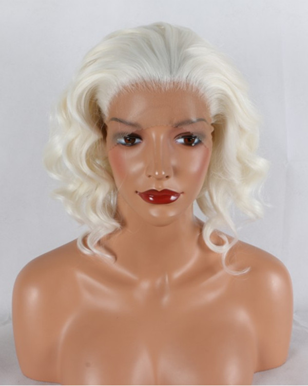 2018 New #613 Blonde Short Wavy Synthetic Lace Front Wig 180% Density Blonde Lace Wig