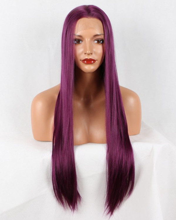 2018 New Arrival Magenta Dark Purple Long Straight Synthetic Lace Front Wig 180% Density Deep Purple Violet Lace Wig