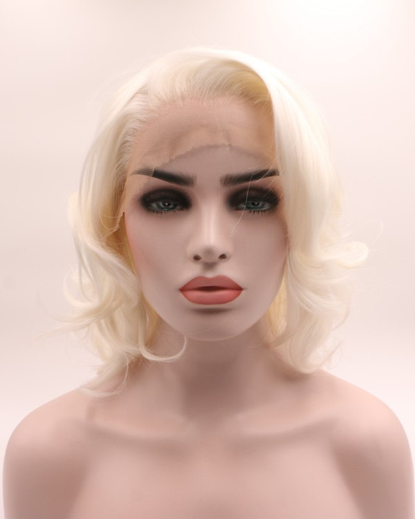 2018 New Arrival Blonde Short Wavy Synthetic Lace Front Wig Free Part Blonde Lace Wig