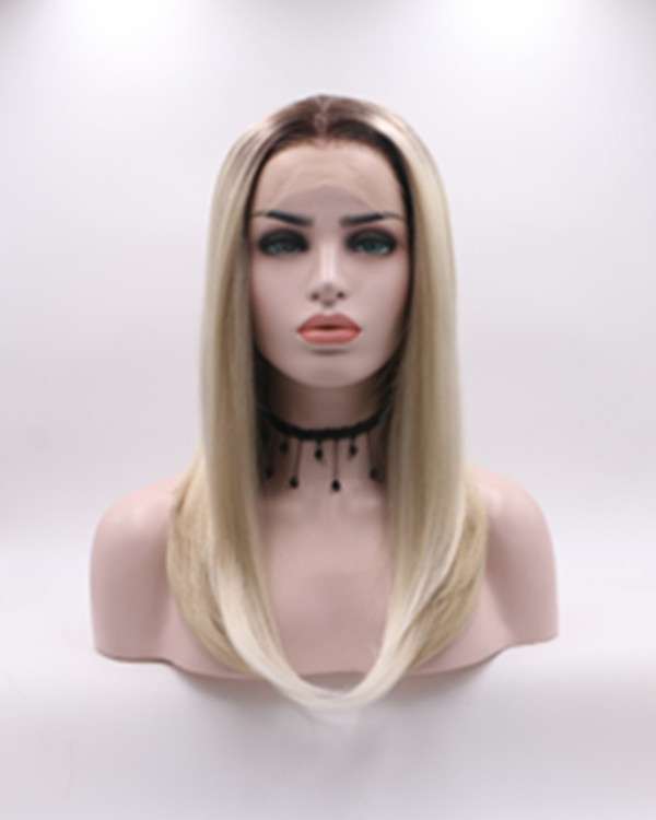 2018 New Blonde Ombre Medium Long Synthetic Lace Front Wig 180% Density Blonde Lace Wig