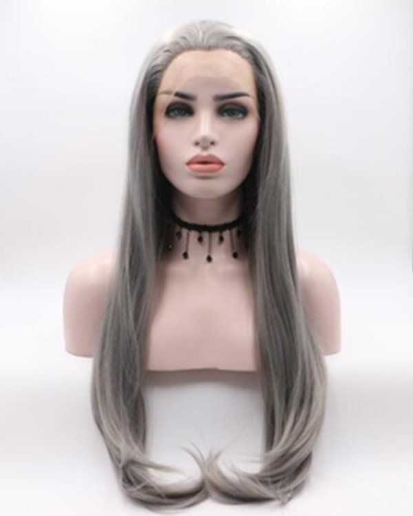 2018 New Arrival Dark Grey Long Straight Synthetic Lace Front Wig Smoky Grey Free Part Grey Lace Wig