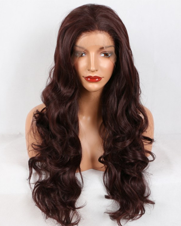 2018 New Arrival Dark Brown Long Wavy Sythentic Lace Front Wig Brown Lace Wig 180% Density