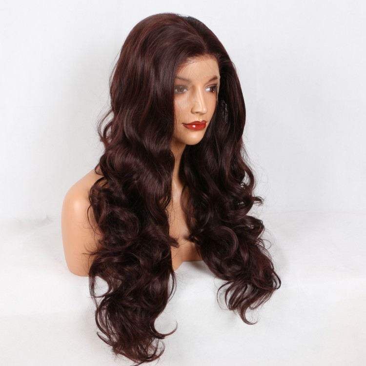 2018 New Arrival Dark Wine Red Long Wavy Synthetic Lace Front Wig Wine Red Lace Wig 180% Density