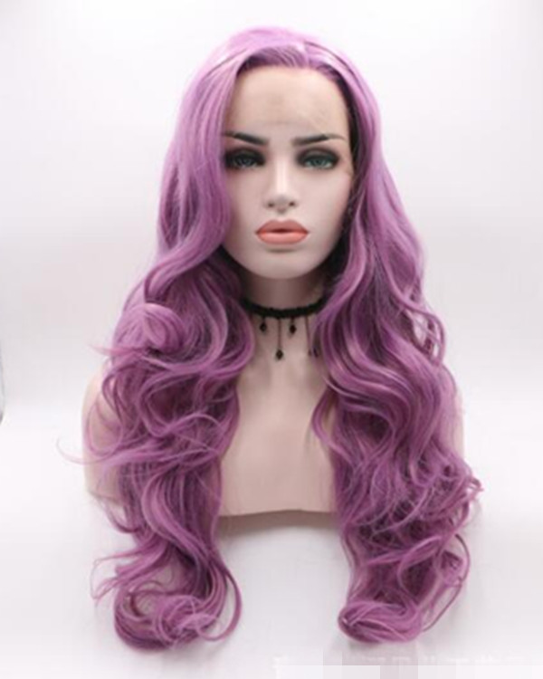 2018 New Lavender Purple Long Wavy Synthetic Lace Front Wig 180% Density Elegant Lilac Purple Violet Wig