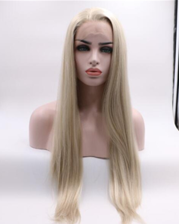 2018 New Arrival Blonde Long Straight Synthetic Lace Front Wig Light Blonde Hair Ash Blonde Lace Wig