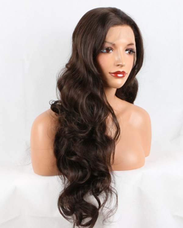 2018 New Arrival Dark Brown Long Wavy Synthetic Lace Front Wig Brown Lace Wig 180% Density