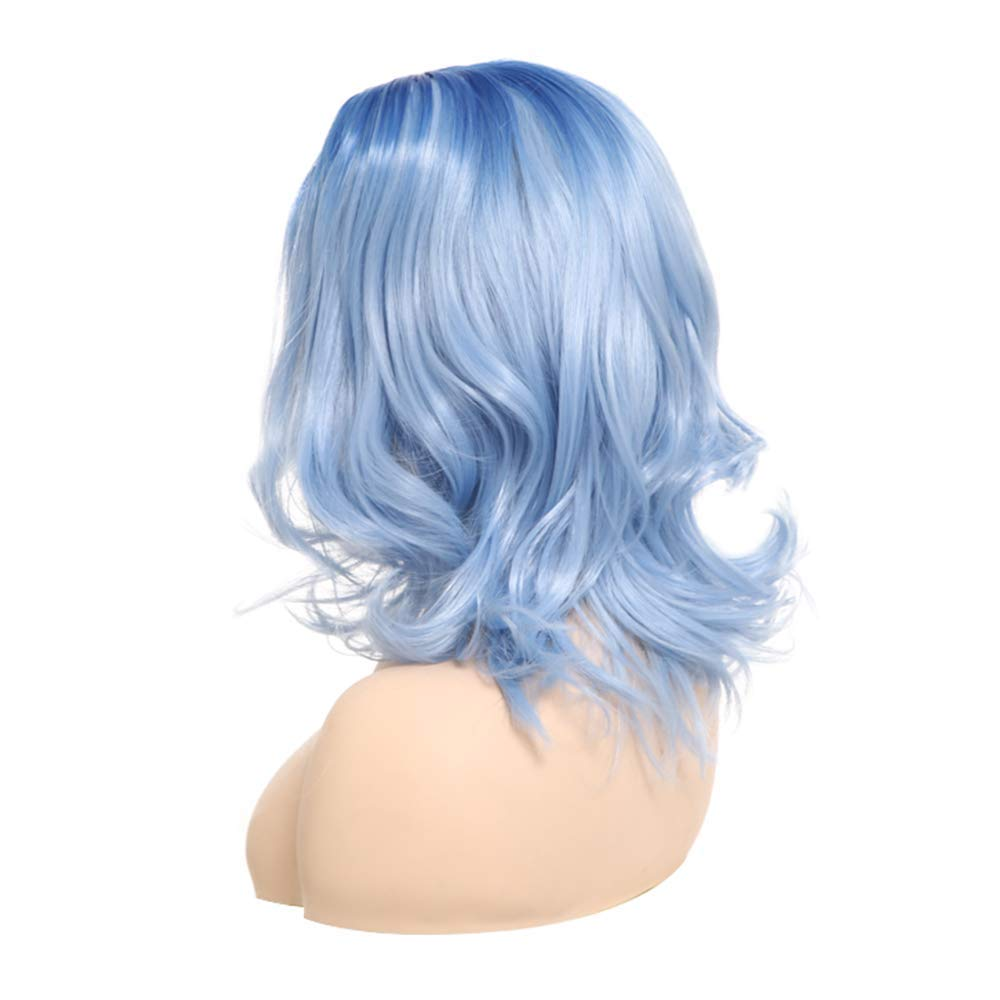 2018 New Fashionable Blue Ombre Short Wavy Costume Wig For Women Hot Sale Blue Party Wig