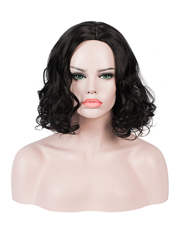 FESHFEN Natural Black Short Wavy Costume Wig Black Wig For Women