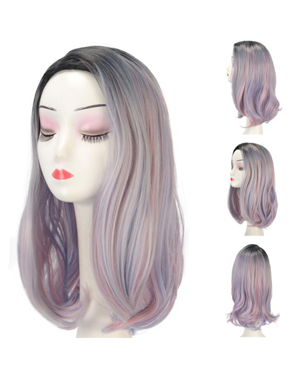 2018 New Trendy Dark Rooted Medium Long Mermaid Pink Purple Rainbow Wavy Costume Wig Synthetic Hair Wig