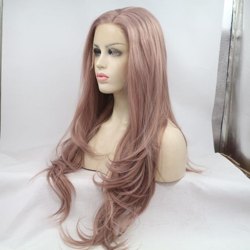 2018 Best Seller Lavender Bare Pink Rose Pink Long Wavy Synthetic Lace Front Wig Purple Pink Wig 180% Density