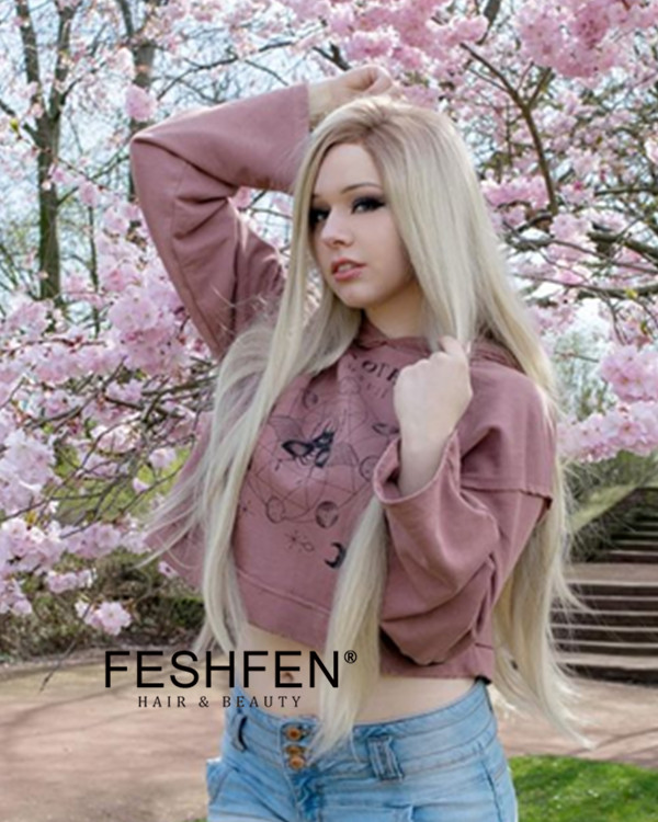 2018 Best Seller Ash Blonde Synthetic Lace Front Wigs Long Straight Light Blonde Hair Wig