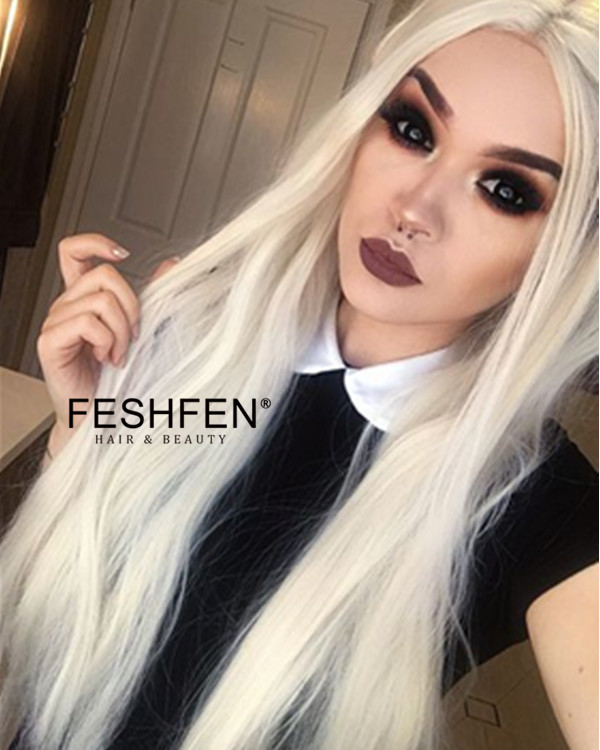 2018 Best Seller Bleach Blonde Synthetic Lace Front Wigs 180% Density Light Blonde Long Straight Wig