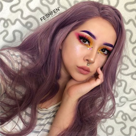 2018 Best Seller Lavender Purple Long Wavy Synthetic Lace Front Wig 180% Density Elegant Lilac Purple Violet Wig - Click Image to Close
