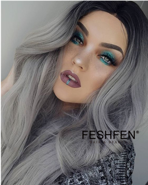 2018 Best Seller Granny Grey Ombre Natural Wave Synthetic Lace Front Wigs 180% Density #1B/Grey Long Wavy Lace Wig