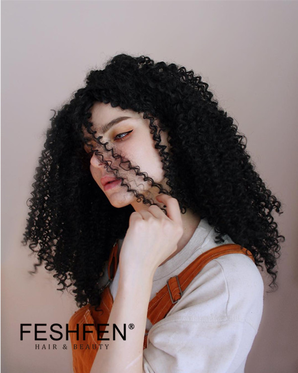 2018 Best Seller Black Kinky Curly Long Synthetic Lace Front Wigs #1B Natural Black Curly Wave Hair Wig