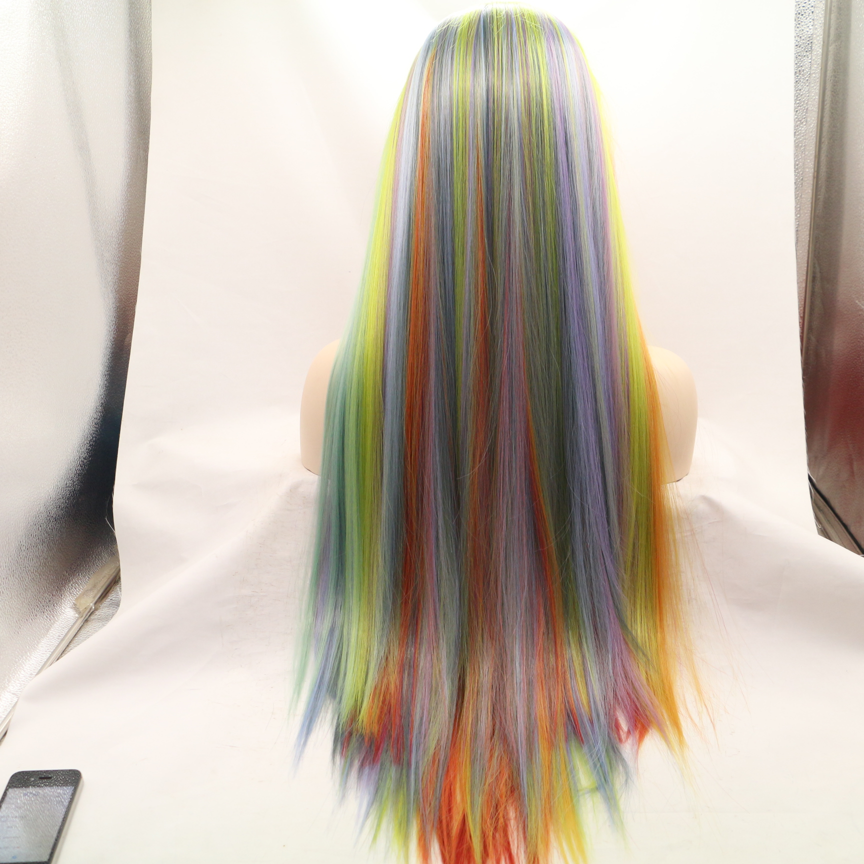 2018 Hot Sale Rainbow Long Straight Synthetic Lace Front Wigs Long Colorful Hair Lace Wig - Click Image to Close