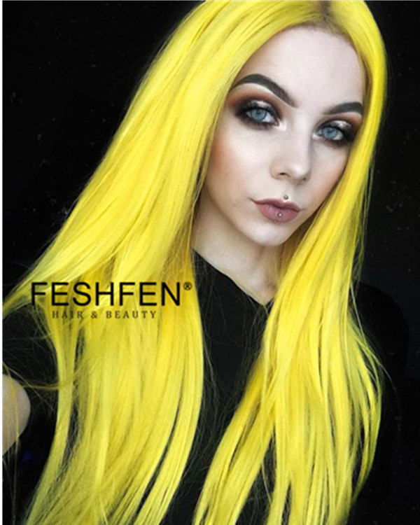 FESHFEN New Yellow Long Straight Sythentic Lace Front Wig 180% Density Lace Wig