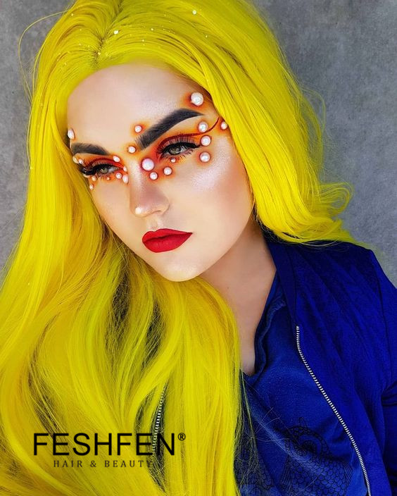 FESHFEN New Yellow Long Straight Sythentic Lace Front Wig 180% Density Lace Wig - Click Image to Close