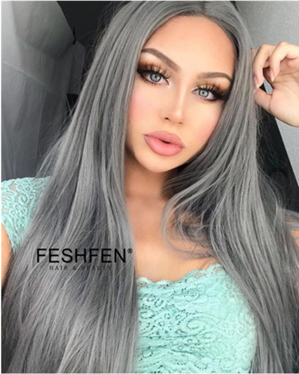 2018 New Arrival Smoky Grey Long Straight Synthetic Lace Front Wigs Trendy Metallic Grey Synthetic Hair Lace Wig - Click Image to Close