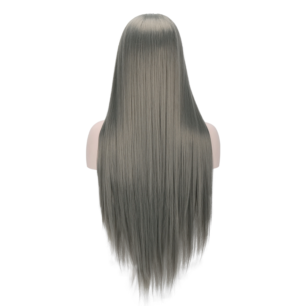 2018 New Arrival Smoky Grey Long Straight Synthetic Lace Front Wigs Trendy Metallic Grey Synthetic Hair Lace Wig