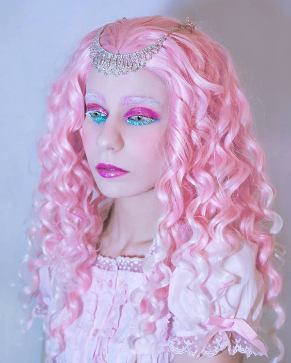 2018 New Arrival Pink Blonde Highlights Mixed Color Long Curly Wave Synthetic Lace Front Wig 180% Density Fashionable Pink Ombre Wavy Lace Wig