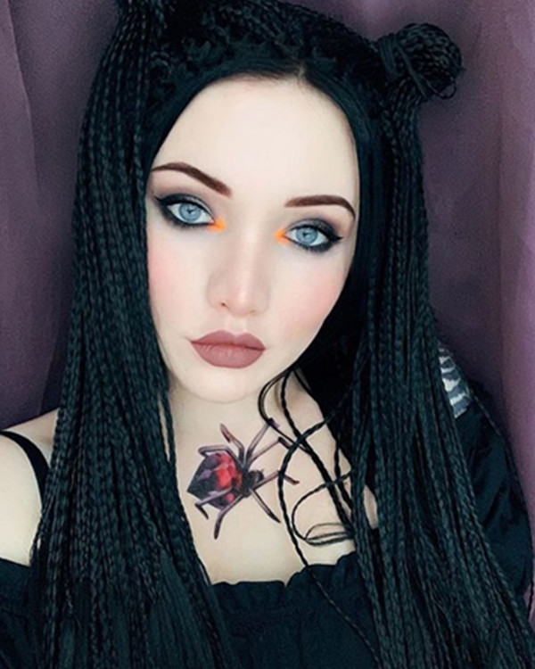 FESHFEN 2018 Hot Sale Natural Black Braiding Synthetic Lace Front Wig 180% Density Long Hand-weaved Black Braiding Lace Wig