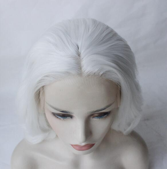2019 New Arrival White Medium Long Wavy Synthetic Lace Front Wig Chic White Lace Wig
