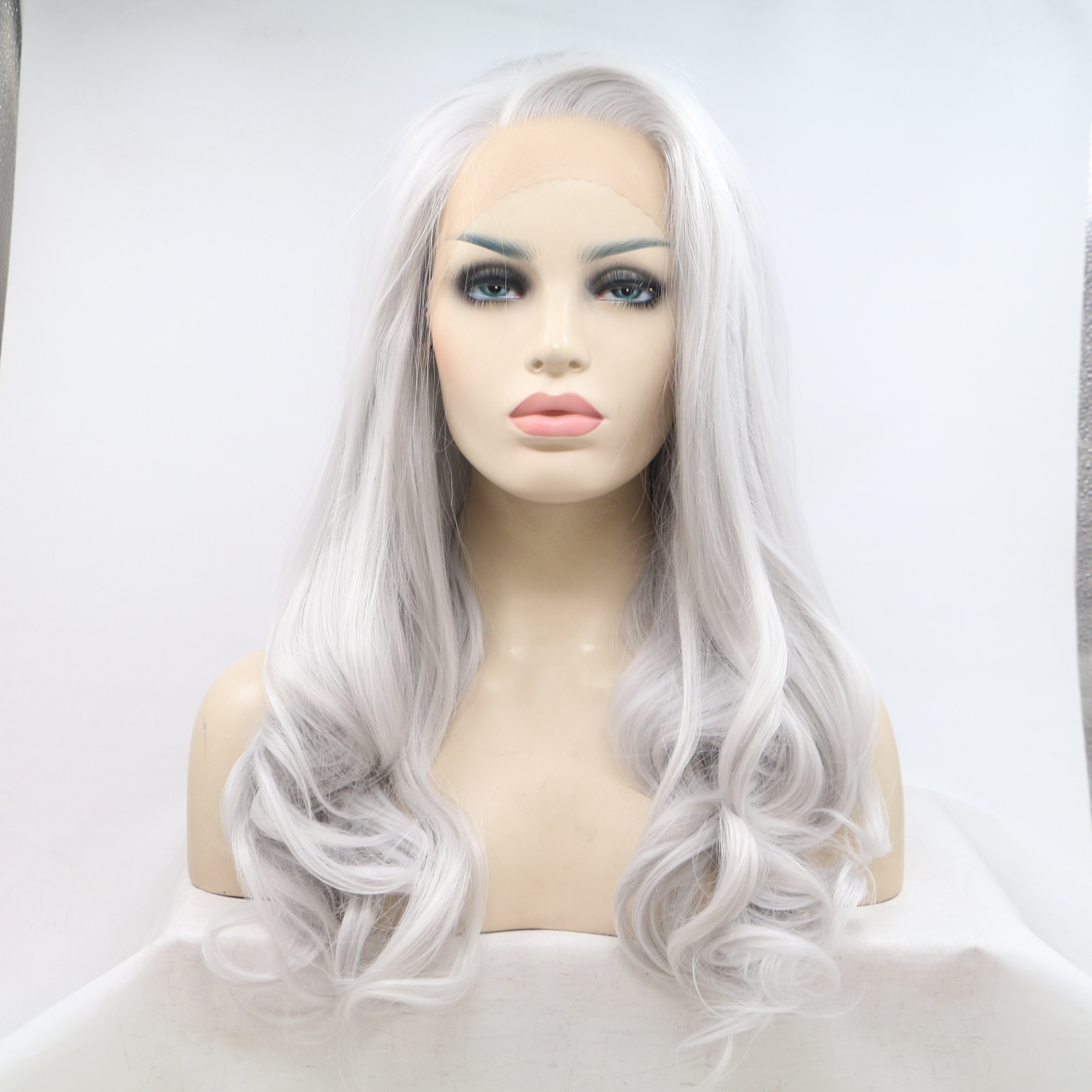 FESHFEN 2018 Hot Sale Silver White Long Wavy Synthetic Lace Front Wig 180% Density Silver Long Wavy Hair Lace Wig