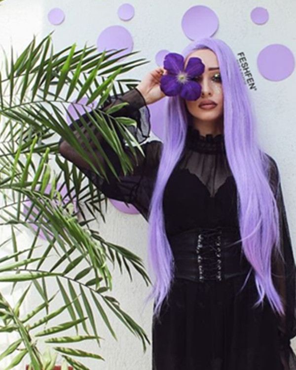 FESHFEN Lavender Purple Long Straight Synthetic Lace Front Wig 180% Density Long Purple Straight Wig