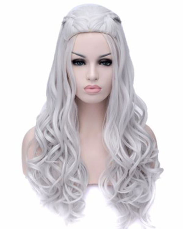New Womens Silver White Long Wavy Curly Full Hair Wigs Game of Thrones Cosplay Fancy Dress Wig