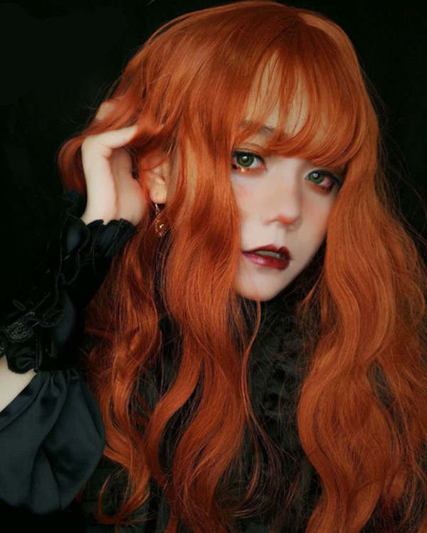 FESHFEN 2019 New Chic Orange Long Wavy Costume Wig For Girls With Bang
