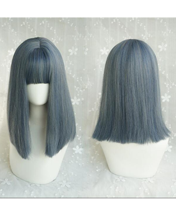 FESHFEN 2019 New Chic Pastel Blue Medium Long Straight Smoky Blue Granny Blue Costume Wig For Girls With Bang