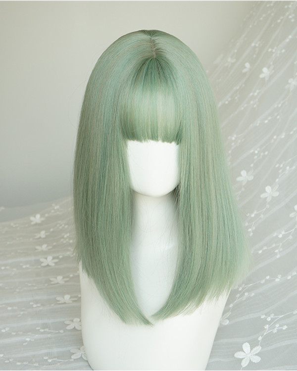 FESHFEN 2019 New Chic Mint Green Light Green Medium Long Straight Colorful Patel Green Costume Wig For Girls With Bang