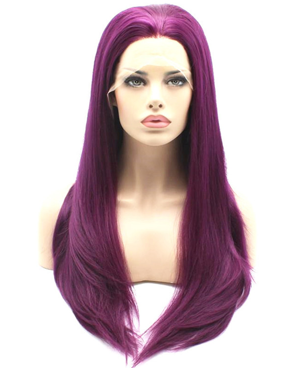 2017 New Arrival Dark Purple Long Straight Synthetic Lace Front Wig 180% DensityDeep Purple Violet Wig