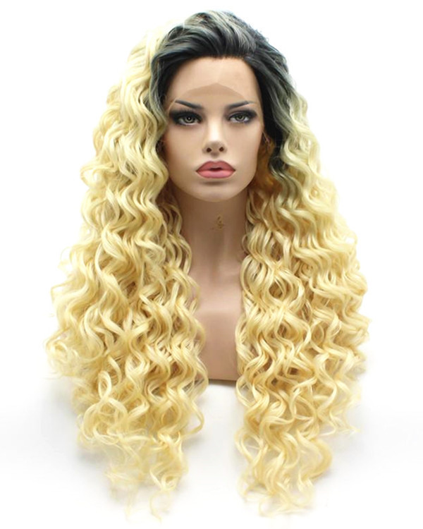 2017 New Arrival #1B/613 Blonde Ombre Curly Wave Synthetic Lace Front Wigs 180% Density Long Wavy Wig