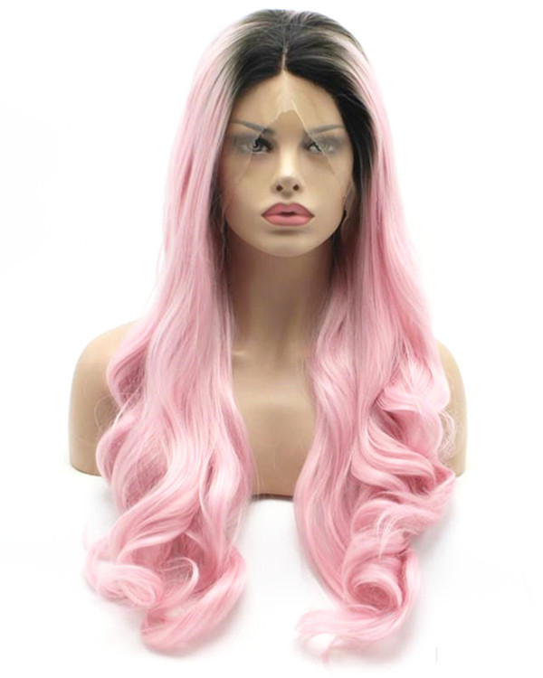 2017 New Arrival Black Pink Ombre Long Wavy Synthetic Lace Front Wig 180% Density #1B/Pink Wavy Wig