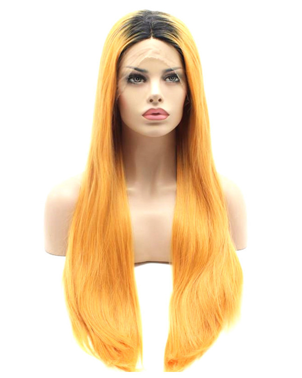 2017 New Arrival Black Orange Ombre Long Straight Synthetic Lace Front Wigs 180% Density Blorange Sunset Wig